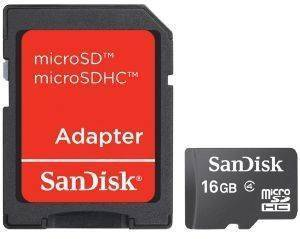 SANDISK 16GB MICRO SD HIGH CAPACITY WITH ADAPTOR CLASS 4