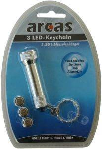 ARCAS 30700002 ALUMINIUM 3 LED TORCH LIGHT WITH KEY CHAIN SILVER