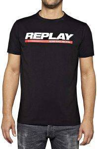 T-SHIRT REPLAY M3847 .000.2660 ΜΑΥΡΟ