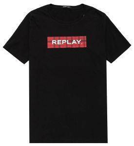 T-SHIRT REPLAY M3890 .000.22708 ΜΑΥΡΟ