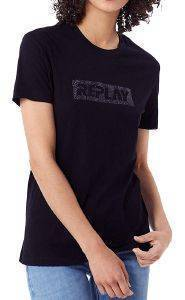 T-SHIRT REPLAY W3940U.000.22658 ΜΑΥΡΟ