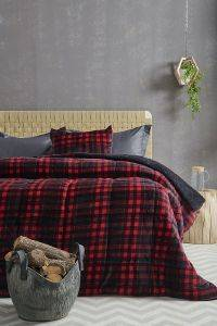 ΠΑΠΛΩΜΑ ΥΠΕΡΔΙΠΛΟ PALAMAIKI HOME  PRINTED FLEECE-SHERPA CHECK RED 220X240CM