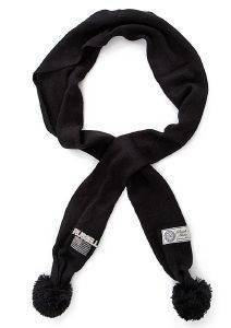 ΚΑΣΚΟΛ RUSSELL ATHLETIC KNIT SCARF WITH POM POM ΜΑΥΡΟ