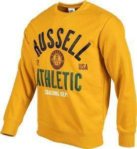 ΜΠΛΟΥΖΑ RUSSELL ATHLETIC BADGED CREWNECK SWEATSHIRT ΜΟΥΣΤΑΡΔΙ (M)