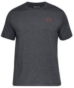 ΜΠΛΟΥΖΑ UNDER ARMOUR UA CHARGED COTTON LEFT CHEST LOCKUP GRAPHIC T-SHIRT ΓΚΡΙ ΣΚΟΥΡΟ