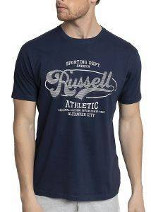 ΜΠΛΟΥΖΑ RUSSELL ATHLETIC STRIPED PRINT S/S CREWNECK TEE ΜΠΛΕ ΣΚΟΥΡΟ