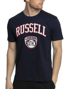 ΜΠΛΟΥΖΑ RUSSELL ATHLETIC BADGE S/S CREWNECK TEE ΜΠΛΕ ΣΚΟΥΡΟ